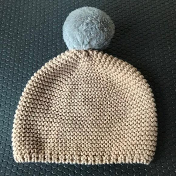 ae61349bf5c5e3 GAP Accessories | Baby Hat Beanie Tan Gray Pom Pom | Poshmark